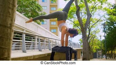 młody, tancerz, practicing, handstand, ława, samica, 4k
