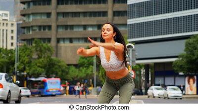 młody, tancerz, taniec, miasto, samica, 4k, ulica