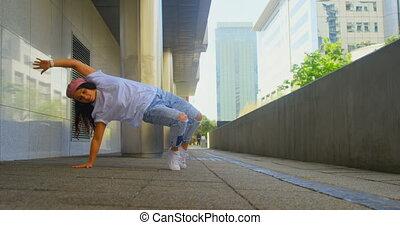 młody, tancerz, taniec, most, spełnianie, 4k, samica, pod