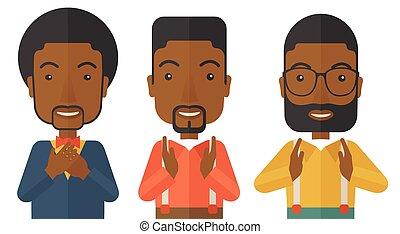 młody, trzy, czarnoskóry, biznesmeni, przystojny