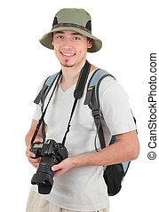 młody, turysta, z, aparat fotograficzny
