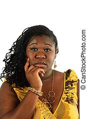 młody, uśmiechanie się, afrykańska kobieta