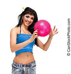 młody, uśmiechnięta kobieta, z, stosowność piłka