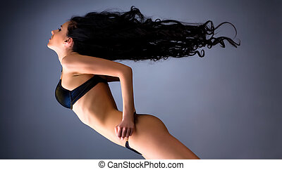 młody, włosy, trzepotliwy, kobieta