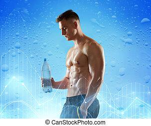 młody, woda, bodybuilder, butelka, albo, człowiek