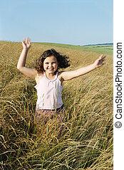 młody, wyścigi, outdoors, dziewczyna uśmiechnięta