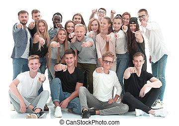 młody, you., spoinowanie, grupa, wielki, ludzie