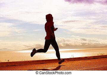 młody, zdrowy lifestyle, kobieta, biegacz, wyścigi, na, droga