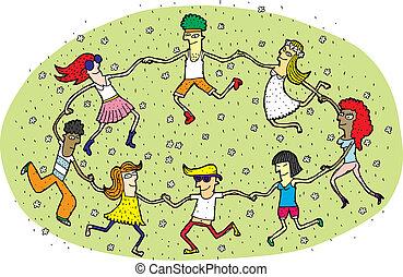 młodzież, taniec, w kole, na, zielona trawa, pole, z,...