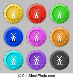 młyn, ikona, poznaczcie., symbol, na, dziewięć, okrągły, barwny, buttons., wektor