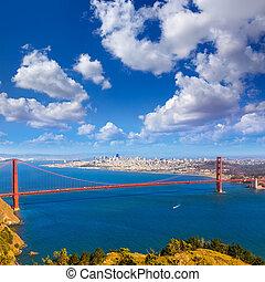 můstek, francisco, san, zlatý, marin předhoří, kalifornie,...