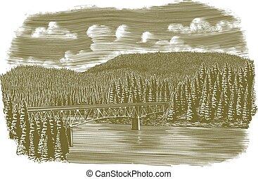 můstek, nad, řeka, dřevoryt