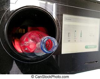 műanyag, automata, beillesztett, árul, fordított, palack, újrafelhasználás, gép
