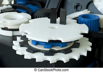 műanyag, gép, parts., függőleges, imagel