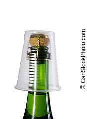 műanyag, pezsgő palack, csésze