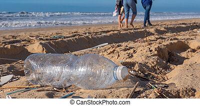 műanyag, szennyezés, tengerpart, palack