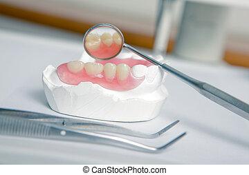 műfogsor, (false, fogász, teeth), akril, eszközök