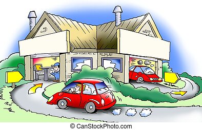 műhely, autózás