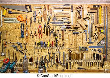 műhely, függő, munka, fal, eszközök