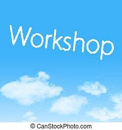 műhely, felhő, ikon, noha, tervezés, képben látható, kék ég, háttér