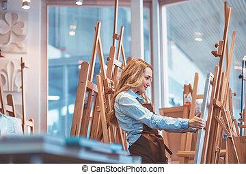 műhely, fiatal, szobafestő