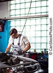 műhely, repairman, munkás