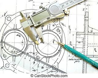műszaki, vonalzó, digitális, drawing., mérnök-tudomány, eszközök, mechanikai, caliper, pencil.
