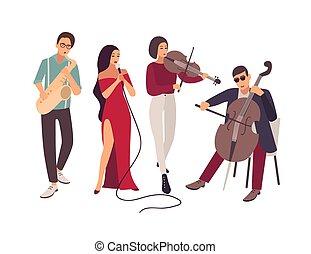műszerek, finom, blues, éneklés, concert., elszigetelt, háttér., zene, fehér, fokozat, lakás, dzsessz, dal, férfiak, banda, közben, karikatúra, nők, illustration., előadó, vagy, vektor, játék, zenés