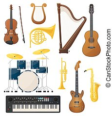 műszerek, líra, gitár, dobok, zene, hegedű