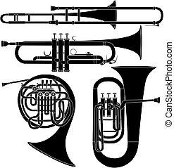 műszerek, rézfúvósok, vektor, zenés