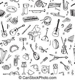 műszerek, -, seamless, vektor, zene, háttér példa