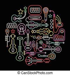 műszerek, zenés, ábra, kerek