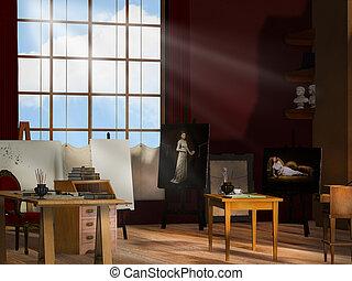 műterem, artist's