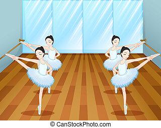 műterem, balett-táncosok, elpróbál