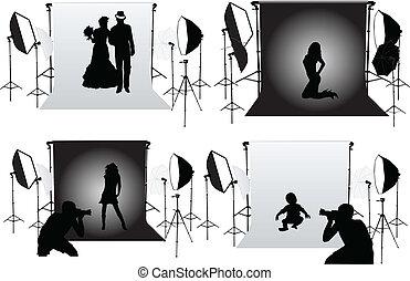 műterem, fotográfia, -, fénykép, ülésszak