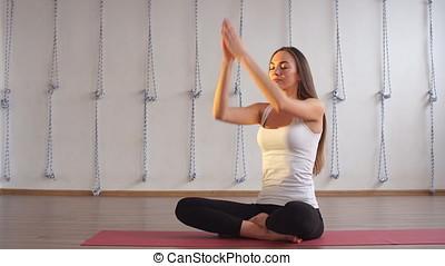 műterem, gyakorló, nő, jóga, indoors.