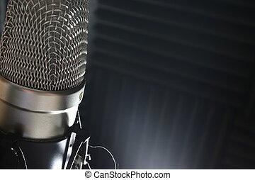 műterem, mikrofon