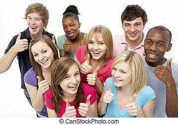 műterem, tizenéves, barátok, csoport
