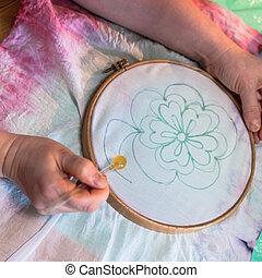 művész, csalogat, körvonal, közül, virág, képben látható, batik