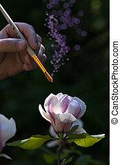 művész, fest, noha, egy, varázslatos, ecset, gyönyörű, virág