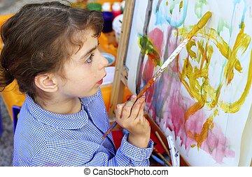 művész, kicsi lány, gyerekek, festmény, elvont, film