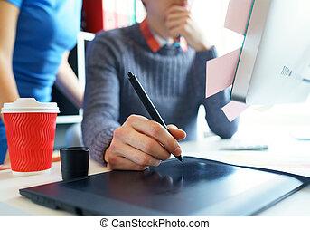 művész, rajz, valami, képben látható, graphic tabletta, -ban, a, belügyminisztérium