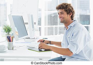 művész, rajz, valami, képben látható, graphic tabletta, noha, akol