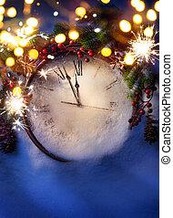 művészet, éjfél, előest, év, új, karácsony