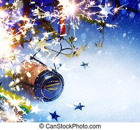 művészet, év, háttér, új, fél, karácsony