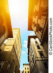 művészet, öreg város, utca