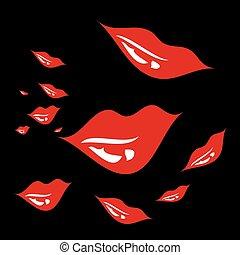 művészet, útvonal, nagy, ajkak, vektor, háttér, white piros
