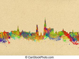 művészet,  ANTWERP, vízfestmény, nyomtat, láthatár,  belgium