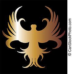 művészet, arany, oroszlán, vektor, black háttér