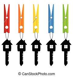 művészet, birtok, ruhacsipesz, ábra, vektor, kulcs, otthon